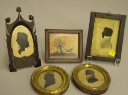 Five Framed Portrait and Scenic Silhouettes