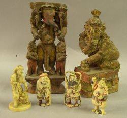 Four Asian Carved Ivory Figures and Two Polychrome Carved Wooden Deity Figures