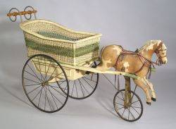 Childs Horse and Wicker Doll Carriage