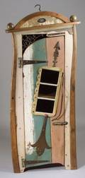 Richard Dunbrack Contemporary Folk Art Iron Mounted and Polychrome Wooden OneDoor Cabinet