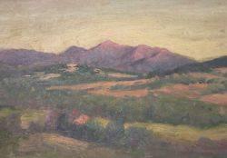 Framed Oil Mountain Landscape