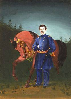 American School 19th Century Portrait of General George McClelland and His Horse