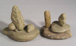 Two David Marshall Carved Stone Figural Groups