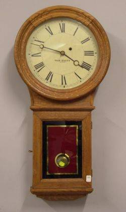 Fair Haven Mfg Co Oak and Eglomise Regulator Wall Timepiece