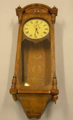 Seth Thomas Clock Co Oak and Walnut Gallery Wall Timepiece