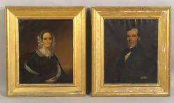 American School 19th Century Pair of Portraits of a Lady and a Gentleman