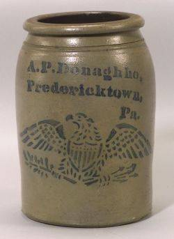 Cobalt Decorated Salt Glazed Stoneware Preserve Jar