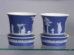 Pair of Wedgwood Dark Blue Jasper Dip Cache Pots and Undertrays