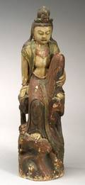 Carved and Polychromed Image of the Water Moon Viewing Kuan Yin
