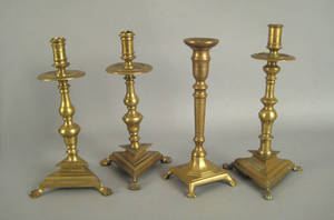 Pair of Continental brass candlesticks 17th c