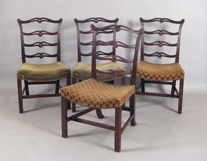 Set of four George III mahogany ribbonback dining chairs ca 1775