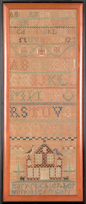 Pennsylvania silk on linen band sampler early 19th c