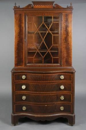 American Mahogany Bookcase on Chest