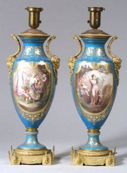 Pair of Sevres Porcelain and Bronze Mounted Urn Lamp Bases