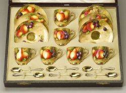 Boxed Set of Six Hand Painted Royal Worcester Demitasse Cups and Saucers with Spoons