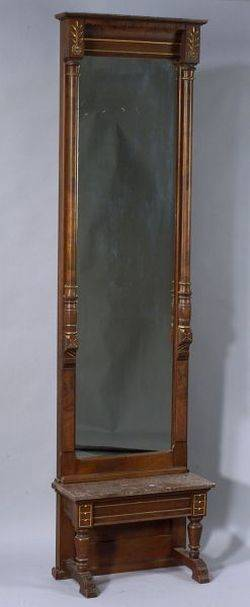American Renaissance Revival Walnut and Parcel Gilt Pier Mirror