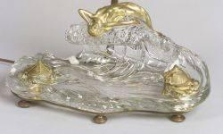 Art Nouveau Colorless Glass and Gilt Bronze Inkstand Desk Lamp