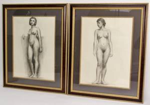 Two Female Nude Drawings Sophia J Osrin