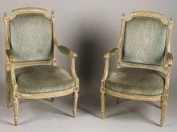 Pair of Louis XVI Style Brown Painted Beechwood Fauteuils