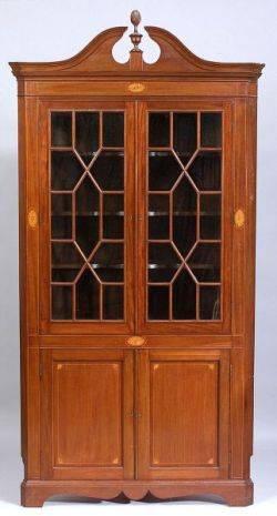 George III Style Inlaid Mahogany Corner Cabinet