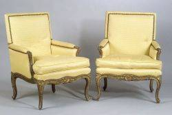 Pair of Louis XV Style Painted and Parcel Gilt Walnut Bergeres a la Reine