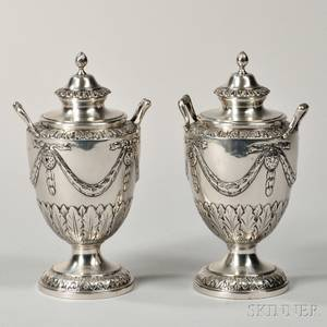 Pair of George III Sterling Silver Urns and Covers