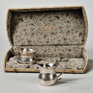 Tiffany  Co Hammered Sterling Silver Creamer and Sugar