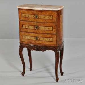 Louis XVstyle Inlaid Fruitwood Marbletop Stand