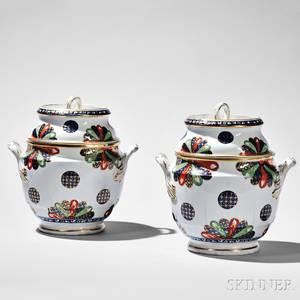 Pair of Worcester Porcelain Fan