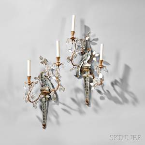 Pair of Twolight Crystal Parrot Wall Sconces