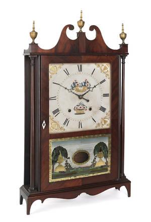 Eli and Samuel Terry mahogany pillar and scroll clock early 19th c
