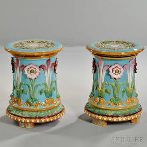 Pair of Minton Majolica Passionflower Garden Seats