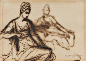 Attributed to George Romney British 17341802 Sketch of a Seated Woman