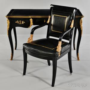 Louis XVstyle Ebonized and Ormolumounted Table  Ecrire and an Empirestyle Fauteuil