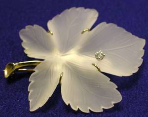 14kt Gold Frosted Crystal and Diamond Brooch