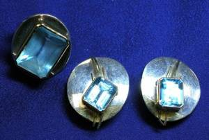 Contemporary 14kt Gold Sterling Silver and Blue Topaz Ring and Earclips V Ferrini