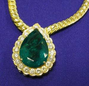 18kt Gold Emerald and Diamond Pendant Necklace