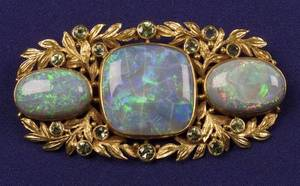 Arts  Crafts Black Opal and Green Chrysoberyl Brooch Potter Mellen