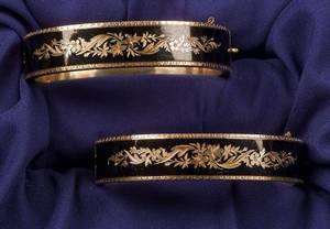 Pair of Victorian 18kt Gold and Enamel Bracelets