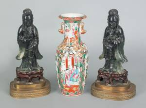 Pair of Chinese carved green quartz figures