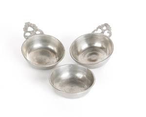 Three New England pewter porringer testers early 19th c