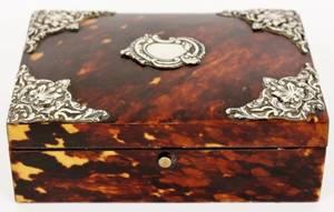 Silvered Metal Mounted Tortoiseshell Box