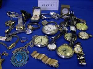 Large Assortment of Wristwatches Pocket Watches Costume Jewelry and Findings