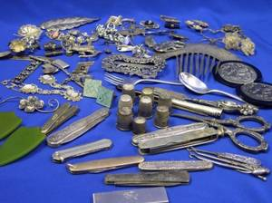 Group of Silver and SilveredMetal Jewelry with a Group of Pen Knives Scissors Thimbles and Implements