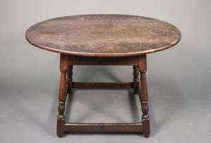 18th Century Stained Pine Oval Tavern Table