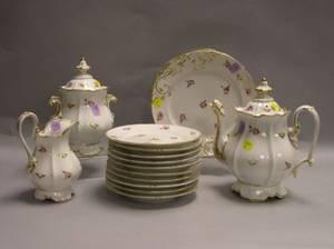 FifteenPiece Paris Porcelain Gilt and Floral Decorated Partial Tea Service