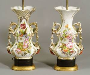Pair of Large Paris Porcelain Enamel Floral Decorated Mantel Vase Lamp Bases