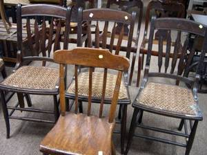 Set of Three Late Victorian Wooden Side Chairs and a Single Wooden Side Chair
