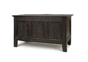 English William  Mary carved oak blanket chest