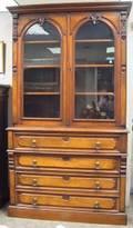Victorian Renaissance Revival Glazed Walnut Stepback Bookcase